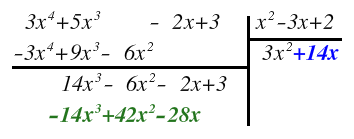 division of a polynomial into a polynomial
