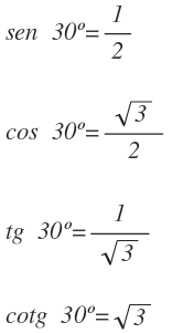 sine cosine and tangent of 30