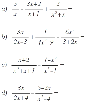 algebraic addition and subtraction exercises with solution